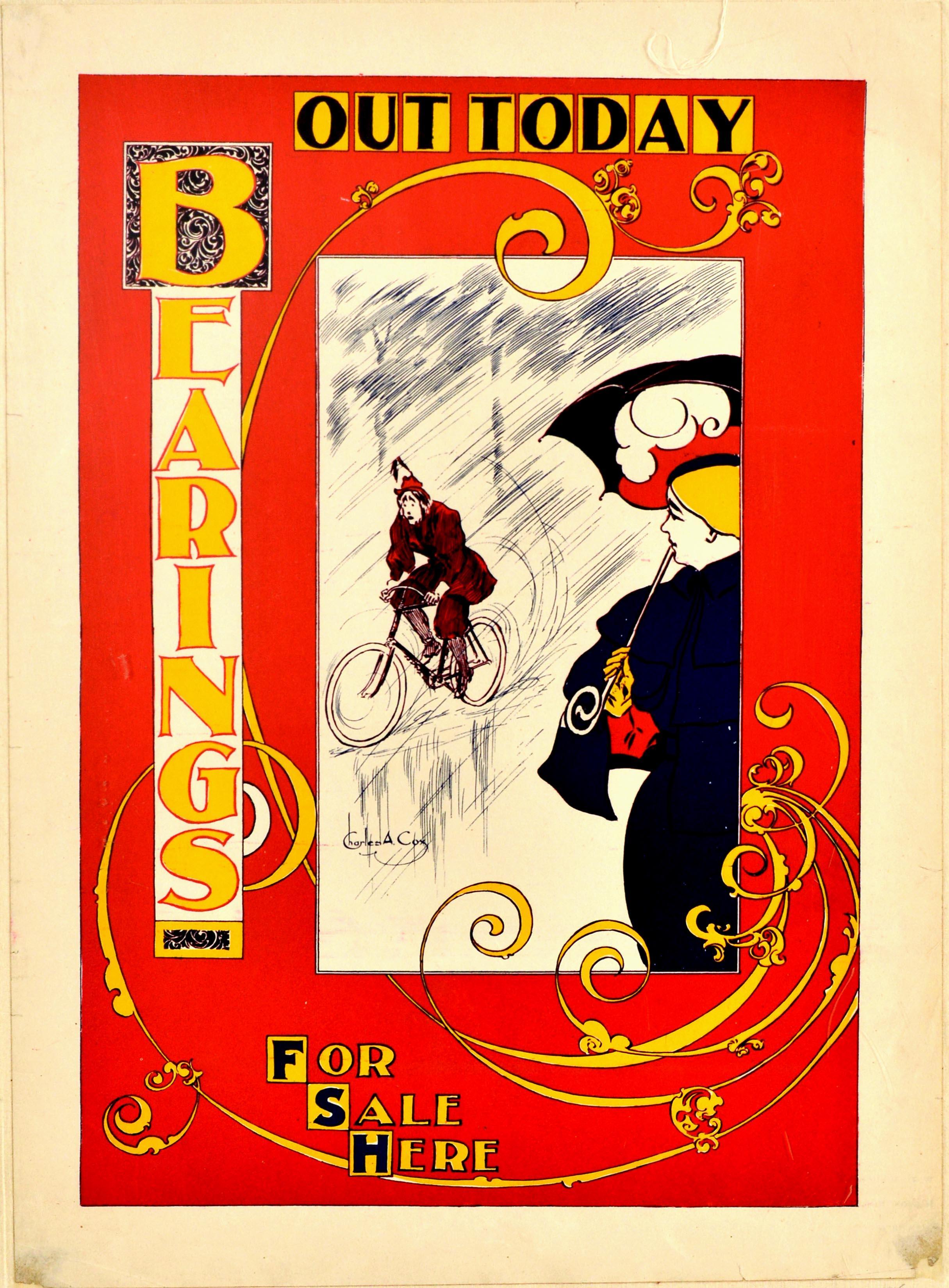 Original Antique Poster Bearings US Cycling Magazine Art Nouveau Design Cyclist