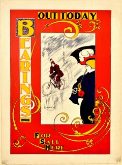 Original Antique Poster Bearings US Cycling Magazine Art Nouveau Design Cyclist