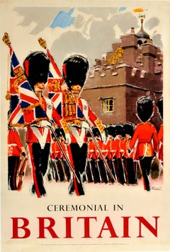 Original Vintage Travel Poster Ceremonial In Britain Royal Coldstream Guards Art