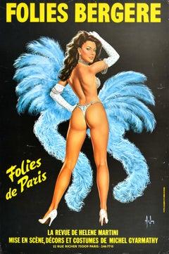 Original Vintage Poster Folies Bergere Paris Cabaret Showgirl Art Helene Martini