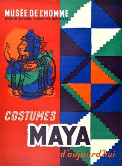 Original Vintage Exhibition Poster Musee De l'Homme Costumes Maya Design History