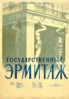 Original Vintage Film Poster Hermitage Museum St Petersburg Russia Atlas Portico