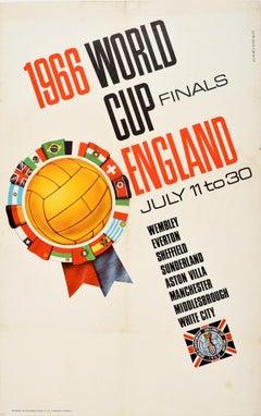 Original Vintage Poster 1966 World Cup Finals England Wembley July Football FIFA