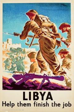 Original Vintage Poster Libya Help Them Finish The Job WWII Soldiers War Art
