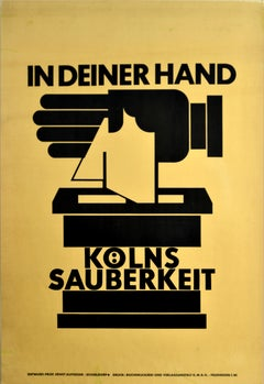 Original Vintage Poster Cleanliness In Your Hand Hygiene Bauhaus Graphic Design