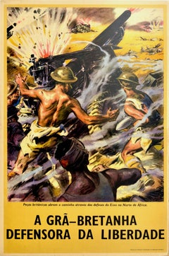 Original Vintage Poster Defender Of Freedom British Forces N. Africa WWII Army