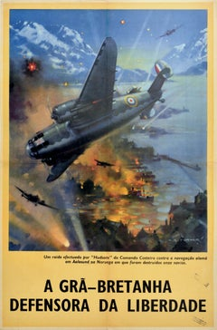 Original Vintage Poster WWII Defender Of Freedom RAF Hudson Fighter Plane Norway