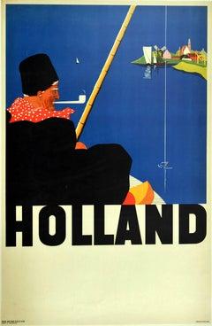 Original Vintage Travel Poster For Holland Fisherman Windmill Sailing Boats Art