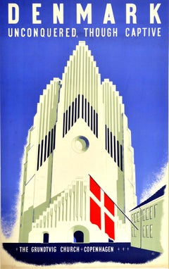 Original Vintage Poster Denmark Unconquered Though Captive WWII Grundtvig Church