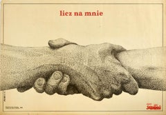 Original Vintage Poster Licz Na Mnie Solidarnosc Poland Solidarity Count On Me