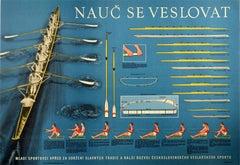 Original Vintage Poster Nauc Se Veslovat Learn To Row Sport Technique Boat Types