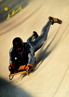 Original Vintage Winter Sport Poster St Moritz Cresta Run Skeleton Bobsleigh