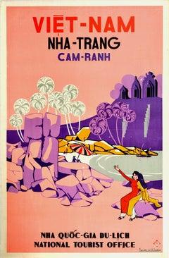 Original Vintage Poster Vietnam Nha-Trang Cam-Ranh Beach Temple Boat Asia Travel