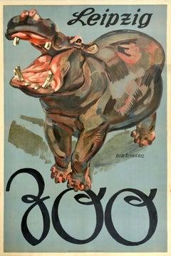 Original Vintage Poster Leipzig Zoo Germany Hippopotamus Art Design Travel