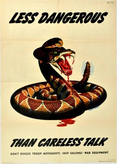 Original Vintage WWII Poster Less Dangerous Than Careless Talk War Snake Design