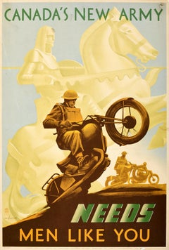 Original Vintage Poster Canada's New Army Needs Men Like You Military Defence