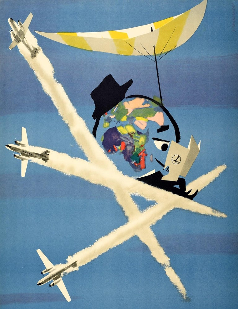 Original vintage travel advertising poster for Polish Airlines LOT (Polskie Linie Lotnicze; founded 1929) featuring a fun design showing three planes with their white trails forming a deck chair in the blue sky being used by a smiling globe of the