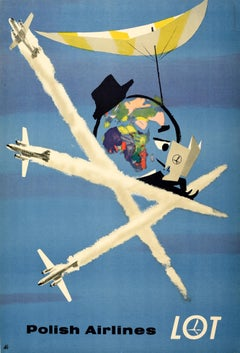 Original Vintage Poster For LOT Polish Airlines World Travel Planes Deck Chair