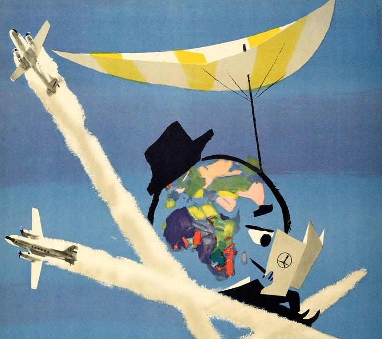 Original Vintage Poster For LOT Polish Airlines World Travel Planes Deck Chair - Print by Janusz Grabianski