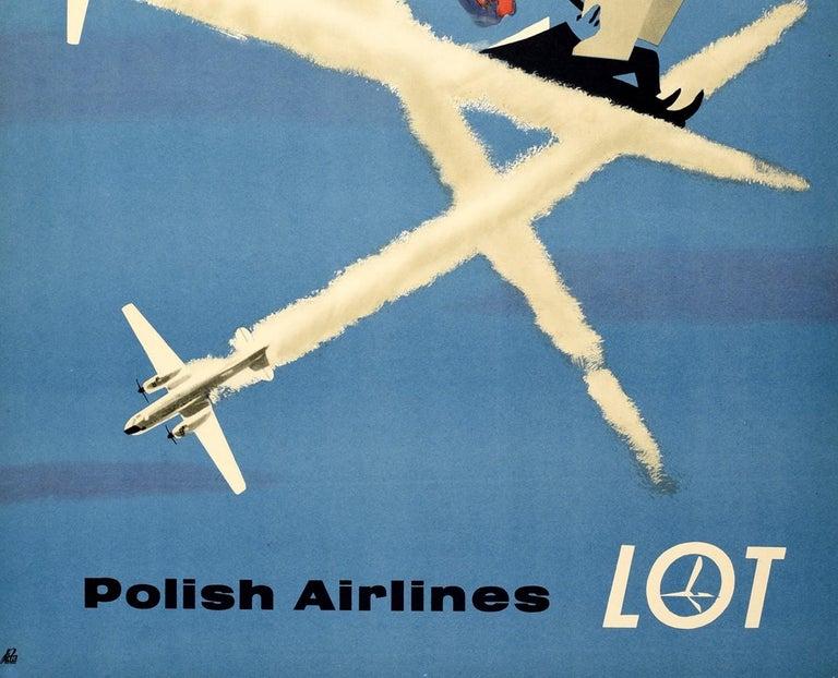 Original Vintage Poster For LOT Polish Airlines World Travel Planes Deck Chair - Blue Print by Janusz Grabianski