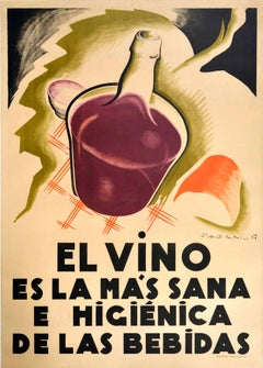 Original Vintage Poster Vino Art Deco Wine Healthiest Drink Louis Pasteur Quote
