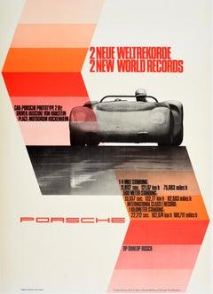 Original Vintage Auto Racing Poster Porsche Prototype 2 World Records Hockenheim