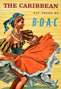 Original Vintage Poster The Caribbean Fly There By BOAC Airline Travel Dancer