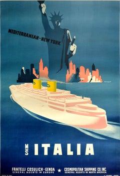 Original Vintage Travel Poster Mediterranean New York City MS Italia Cruise Ship