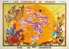 Original Vintage Poster Vineyards Of Champagne Wine Map Les Vignobles De France