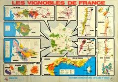 Original Vintage Poster Les Vignobles De France Wine Region Map French Vineyards