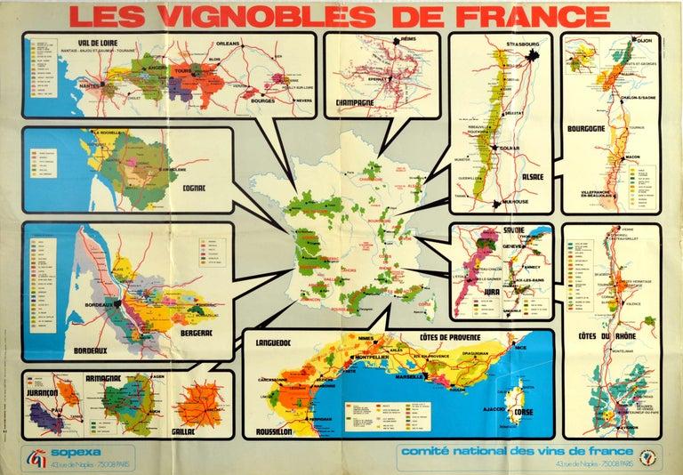 L. Coindeau Print - Original Vintage Poster Les Vignobles De France Wine Region Map French Vineyards