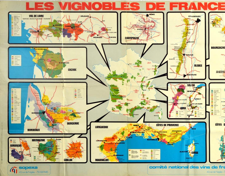 Original Vintage Poster Les Vignobles De France Wine Region Map French Vineyards - Print by L. Coindeau