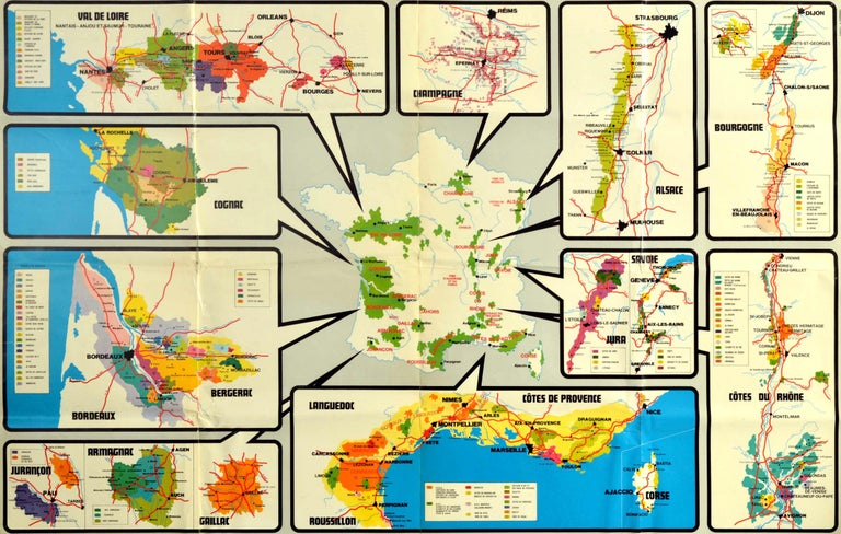 Original vintage advertising poster for Les Vignobles de France / The Vineyards of France issued by the National Committee of the Wines of France SOPEXA Comite Nationale de Vins de France featuring a map of France showing the major wine producing