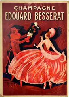 Original Antique Poster Champagne Edouard Besserat Ay France Wine Drink Artwork
