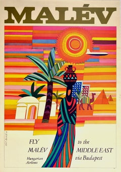 Original Vintage Poster Fly Malev Hungarian Airlines To Middle East Via Budapest