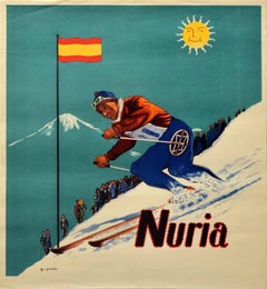 Original Vintage Skiing Poster Nuria Catalonia Spain Pyrenees Ski Winter Sport