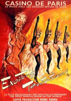 Original Vintage Poster Casino De Paris Exciting Tentations Cabaret Show Can-Can