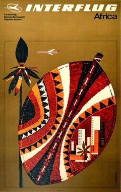 Original Vintage Poster Africa Fly Interflug German Democratic Republic Airlines
