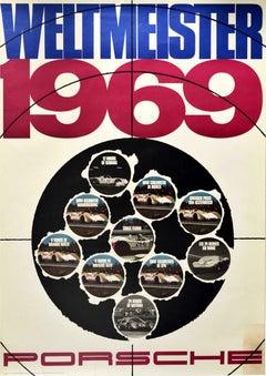 Original Vintage Poster Porsche Weltmeister 1969 Champion Motorsport Auto Racing