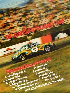 Original Vintage Auto Racing Poster Porsche 911 GT Europa Pokal 1972 Europe Cup
