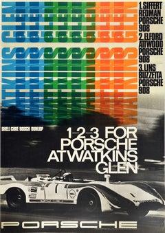 Original Vintage Auto Racing Poster 1-2-3 For Porsche At Watkins Glen Motorsport