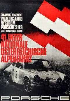 Original Vintage Auto Racing Poster Porsche 911 Austrian Alpine Tour Alpenfahrt
