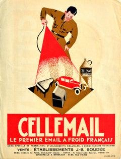 Original Antique Poster Cellemail Le Premier Email A Froid Francais Enamel Paint