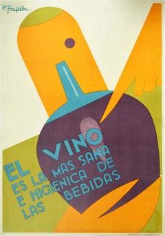 Original Vintage Poster El Vino Es La Mas Sana Wine The Healthiest Drink Pasteur
