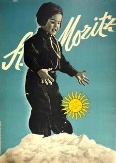 Original Vintage Poster St Moritz Switzerland Ski Resort Swiss Alps Winter Sport
