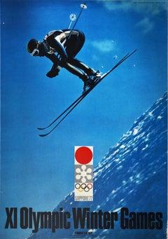 Original Vintage Poster Olympic Winter Games Sapporo Japan Hokkaido Skiing Event