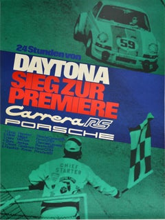 Original Vintage Auto Racing Poster 24 Hours Daytona Porsche 911 Carrera Victory