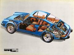 Original Vintage Auto Poster Porsche 911 SC Motorsports Car Super Carrera Model