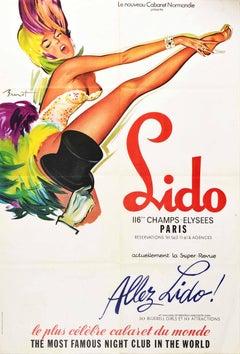 Original Vintage Poster Lido Paris Cabaret Bluebell Girls Pin Up Champs Elysees