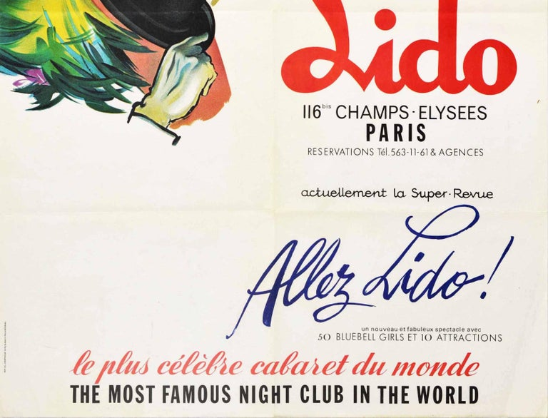 Original Vintage Poster Lido Paris Cabaret Bluebell Girls Pin Up Champs Elysees - White Print by Pierre Brenot